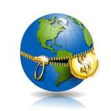 Globe with dollar. Illustration, globe revealled on equator with dollar Stock Photography