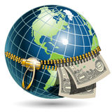 Globe with dollar. Illustration, globe revealled on equator with dollar Royalty Free Stock Photos