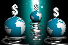 Globe and dollar bouncing on spring Royalty Free Stock Image