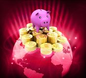 Globe with dollar coins and piggy. Global money saving Royalty Free Stock Photos