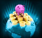 Globe with dollar coins and piggy. Global money saving Stock Images
