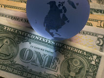 Globe dollar. Globe with dollar notes banking business Stock Photo
