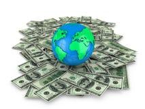 Globe on dollar notes Stock Photos