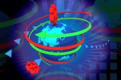 Globe and dollar rotating arrows Stock Photo
