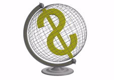 Globe with dollar sign Royalty Free Stock Photo