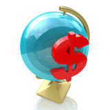 Globe and dollar sign Royalty Free Stock Images