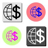 Globe with dollar. flat vector icon royalty free illustration