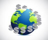 Globe and dollar symbols illustration design Royalty Free Stock Photo