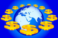 Globe and dollars. Concept illustration of the Earth globe and dollar signs on orbit. Elements of this image furnished by NASA Royalty Free Stock Images