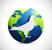 Globe and dove illustration design Stock Photos