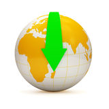 Globe with Download arrow on white background (Dow. Nload Concept). 3d Image Royalty Free Stock Photos