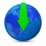 Globe with Download arrow on white background (Dow. Nload Concept). 3d Image Royalty Free Stock Image