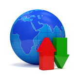 Globe with Download and Upload Arrows stock illustration