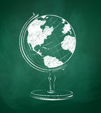 Globe drawn on green chalkboard Stock Photos