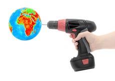 Globe drill screwdriver Royalty Free Stock Image