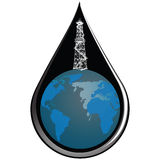 Globe and drop oil. At the drop of oil globe with oil derrick. Vector illustration Stock Photo