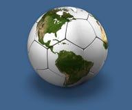 Globe du football sur le bleu illustration de vecteur