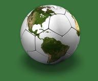 Globe du football sur le vert illustration de vecteur