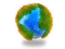 Globe du monde dans l'herbe Image stock
