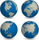 Globe du monde dans le point de vue quatre global différent Images stock