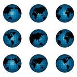Globe du monde en position différente Photographie stock