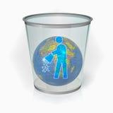 Globe du monde, poubelle Photo libre de droits