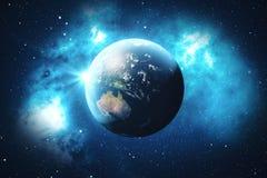 globe du monde du rendu 3D Globe de la terre avec les étoiles et la nébuleuse de contexte La terre, galaxie et Sun de l'espace Le Images stock