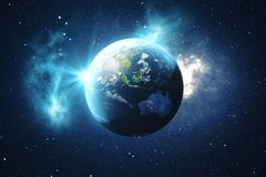 globe du monde du rendu 3D Globe de la terre avec les étoiles et la nébuleuse de contexte La terre, galaxie et Sun de l'espace Le Photo libre de droits