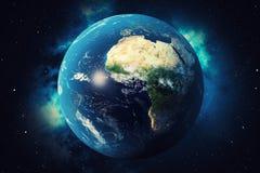 globe du monde du rendu 3D Globe de la terre avec les étoiles et la nébuleuse de contexte La terre, galaxie et Sun de l'espace Le illustration libre de droits