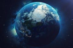 globe du monde du rendu 3D Globe de la terre avec les étoiles et la nébuleuse de contexte La terre, galaxie et Sun de l'espace Le illustration stock