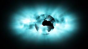 Globe earth on abstract galaxy Stock Photos
