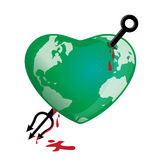 Globe Earth Attacked. A concept of a heart-shaped globe attacked by evil Royalty Free Stock Photo