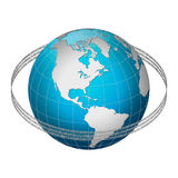 Globe earth with binary code ring, America centric Stock Photography