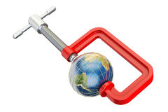 Globe Earth in clamp, 3D rendering Stock Photography
