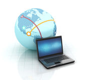 Globe Earth with Computer Laptop Stock Images