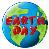 A globe with Earth day label Stock Image