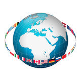 Globe earth with flag ring, Europe centric. Europe centric globe world illustration with a ring of international flags