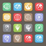 Globe earth flat icon set . Vector illustration Stock Images