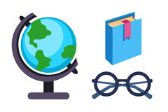 Globe earth geography book and glasses icon vector illustration. International graphic travel sphere. Education element Stock Photo