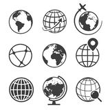 Globe and earth geography graphic icon set royalty free illustration