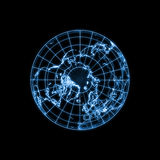 Globe Earth glowing light map outline Stock Photography