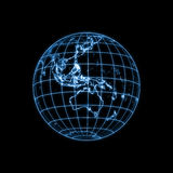 Globe Earth glowing light map outline Stock Image