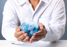 Globe earth in  hand Royalty Free Stock Images