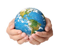 Globe ,earth in  hand Stock Photo