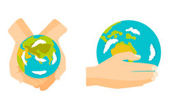 Globe earth in hand icon vector illustration. Stock Image