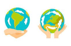 Globe earth in hand icon vector illustration. Stock Photo
