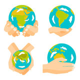 Globe earth in hand icon vector illustration. Stock Images