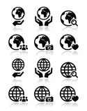 Globe earth with hands  icons set with reflection Royalty Free Stock Photos