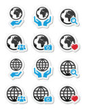 Globe earth with hands  icons set Royalty Free Stock Photo