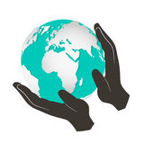 Globe - Earth in Hands Vector Illustration Royalty Free Stock Photo